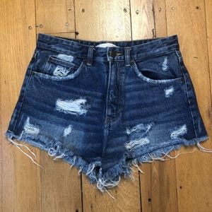 Zara Trafaluc denimwear Distressed Short Shorts